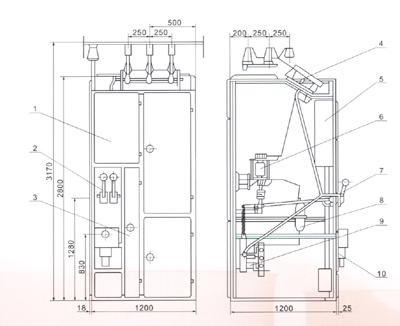 高压开关柜真空断路器接线图